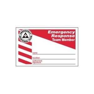 Labels EMERGENCY RESPONSE TEAM MEMBER (WALLET CARD) 2 1/8