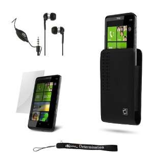 Black Vertical Delux Leather Cover Case with Removable