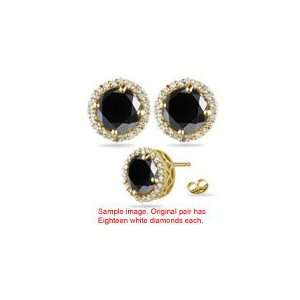 2.69 3.23 Cts Black & White Diamond Stud Earrings in 18K