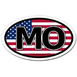 Missouri MO and US Flag Car Bumper Sticker Decal Oval