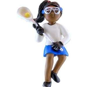 African American Female Lacrosse Player Christmas Ornament