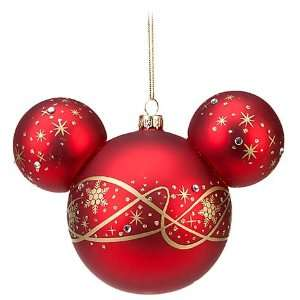 Disney World Mickey Mouse Head Icon Red Pixie Dust Ornament