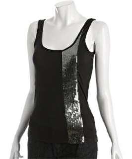 BCBGeneration black jersey sequin stripe tank top