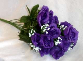 84 Long Stem Roses ~ DARK PURPLE Silk Wedding Flowers Centerpieces