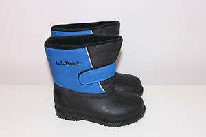 LL BEAN TODDLER BOYS WINTER SNOW BOOTS SHOES BLUE BLACK SZ 8 EEUC