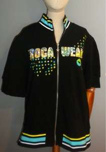 ROCA WEAR EMBELLISHED BLACK SHORT SLEEVE ZIP HOODIE
