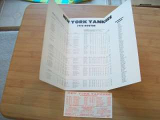 1978 NEW YORK YANKEES Schedule Non Roster Invities Mickey Mantle