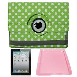 Skque Green with White Polka Dots 360 Rotating Leather Case + Screen