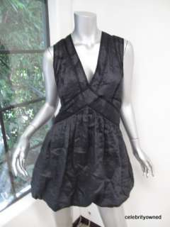 Stella McCartney Black Pinstripe V Neck Bubble Dress 40