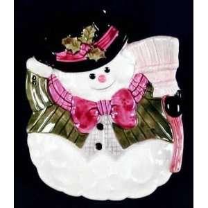 Snow Gentleman Holiday Salad Plate, Candy Dish Kitchen