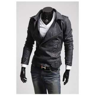 New Mens Stylish Slim Fit Pu Leather Jackets Coats 2 Colours US Size