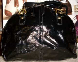 COACH BLACK PATENT LEATHER COURTNEY EXTRA LARGE SHOULDER BAG SATCHEL