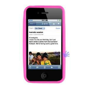 APPLE IPHONE 4G HOT PINK SOLID SILICONE SKIN RUBBER SOFT CASE COVER