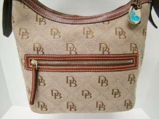 SIGNATURE DB QUILTED MONOGRAM LOGO CANVAS BAG PURSE TOTE HOBO