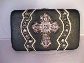 Black Tooled Rhinestone Cross Conchos Boot Top Cowgirl Handbag Purse