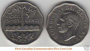 First Canadian Commemorative Five Cent Coin (1751 1951)