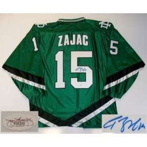 Travis Zajac Signed North Dakota Jersey Devils Jsa: Sports