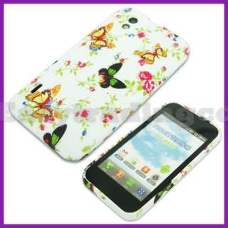 Rubber Case Cover LG Optimus Black P970 Green Yellow Butterfly
