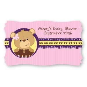 Baby Girl Teddy Bear   Set of 8 Personalized Baby Shower Name