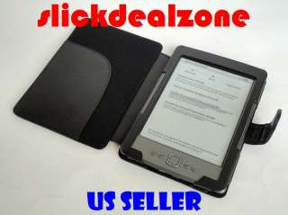 NEW PREMIUM BLACK PU LEATHER CASE COVER FOR  KINDLE 4