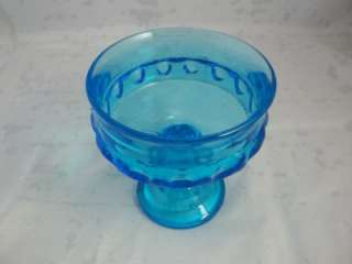 Indiana Glass Kings Crown Thumbprint Blue Glass Compote Candy Dish