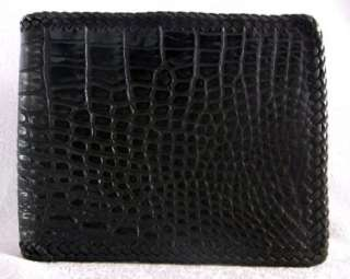 CUSTOM CROCODILE BELLY BLACK ROCKER BIKER MENS WALLET