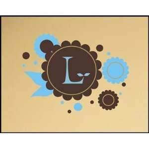 Chocolate Flowers Monogram Wall Decal