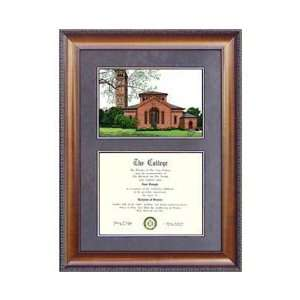 Hampton University Suede Mat Diploma Frame with Lithograph