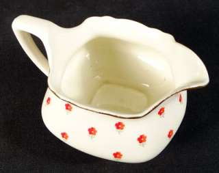LIDO W.S. GEORGE CREAM MILK PITCHER BLUSHING ROSE RED FLOWERS COTTAGE