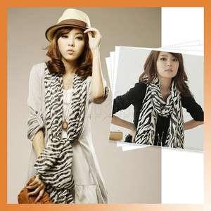Black White Zebra Print Women Shawl Wrap Stripes Chiffon Scarf Fashion