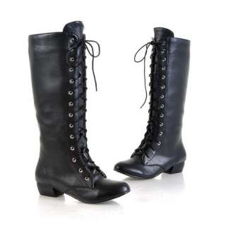 Womens PU Leather Low Heel Zipper Lace Up Knee High Boots Shoes US