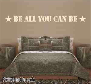 BE ALL YOU CAN BE military wall decal   kids room decor