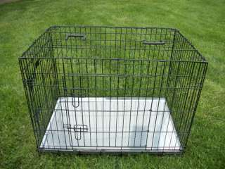 Two Door Dog Crate Cage Kennel With Metal Pan Pit Bull Cocker Spaniel