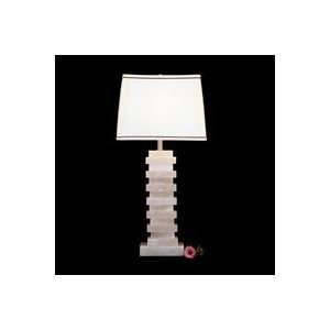 com Art Deco/Retro 1022   Alabaster Square Stepped Column Table Lamp
