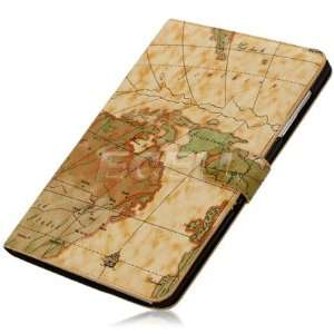 Ecell   LIGHT BROWN WORLD MAP ATLAS LEATHER CASE FOR