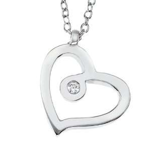 14k White gold with White diamond open heart pendant necklace Jewelry