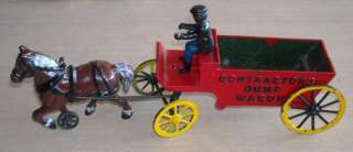 Antique Cast Iron Toy Contractors Dump Wagon ORIGINAL