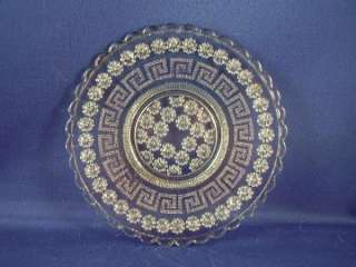 VINTAGE EAPG BLUE GLASS DAISY & GREEK KEY SM PLATE