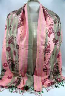 Thai Hand Woven 100% Cotton Scarf/Wrap Size 20x66 Pink/Gray Flower