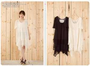 Mild Shop Women Japanese Korean Simple Pure Chiffon Short Sleeve Dress