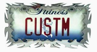 CHROME TRIBAL CUT FLAMES LICENSE PLATE FRAME CAR TRUCK