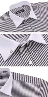 Fashipn New Mens Casual Stylish French Stripe Dress Shirts Button Up