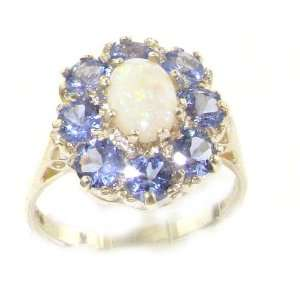 Luxury Ladies Solid White Gold Natural Opal & Tanzanite Large Cluster