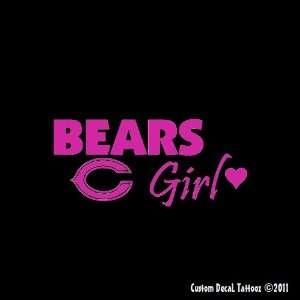 Chicago Bears Girl Car Window Decal Sticker Raspberry Pink