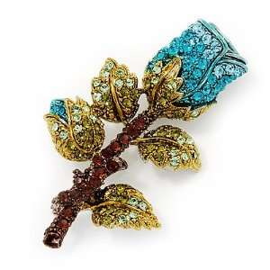 Teal Blue Swarovski Crystal Rose Brooch (Gold Plated Metal) Jewelry