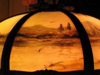 & CRAFTS PITTSBURGH REVERSE PAINTED SLAG LAMP   HANDEL TIFFANY ERA
