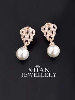 18K Rose Gold Plated Flower Knot Swarovski Pearls Earrings, N585