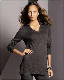 Studio Womens Silk & Cashmere Casual Split Neck Polo Tunic Sweater Top