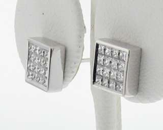 Genuine Diamonds VVS H 1ct Princess Cuts Solid 18k White Gold Stud