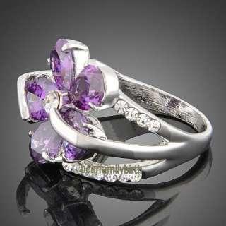 gold GP Swarovski crystal & amethyst rose ring 1776 size 8
